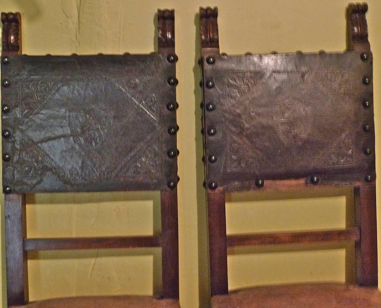 Pair of Spanish 18th Century High Back Studded Leather Dining Chairs For Sale 2