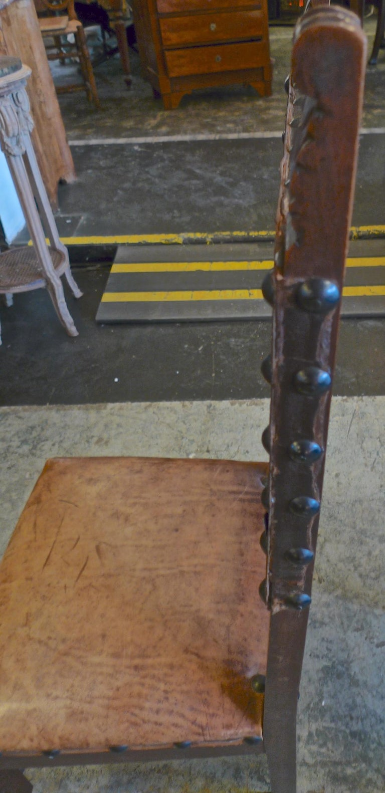 Pair of Spanish 18th Century High Back Studded Leather Dining Chairs For Sale 3