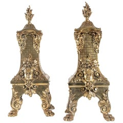 Pair of Spectacular Bronze Fireplace Inlets Style Napoleon III