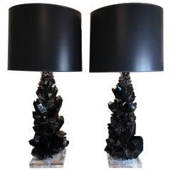 Pair of Spectacular Large Black Quartz Table Lamps