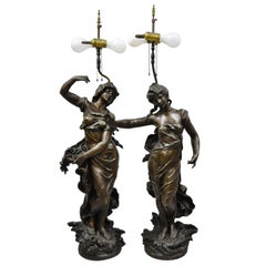 Pair of Spelter Metal Large Figural French Victorian Woman Table Lamps