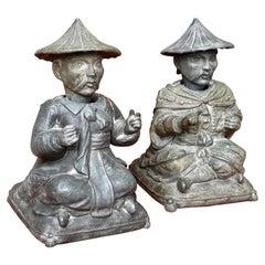 "Pair of Spelter ""Nodders"" Chinese Merchants"