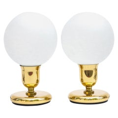 Pair of Spherical Gold Table Lamps in the Art Deco Style