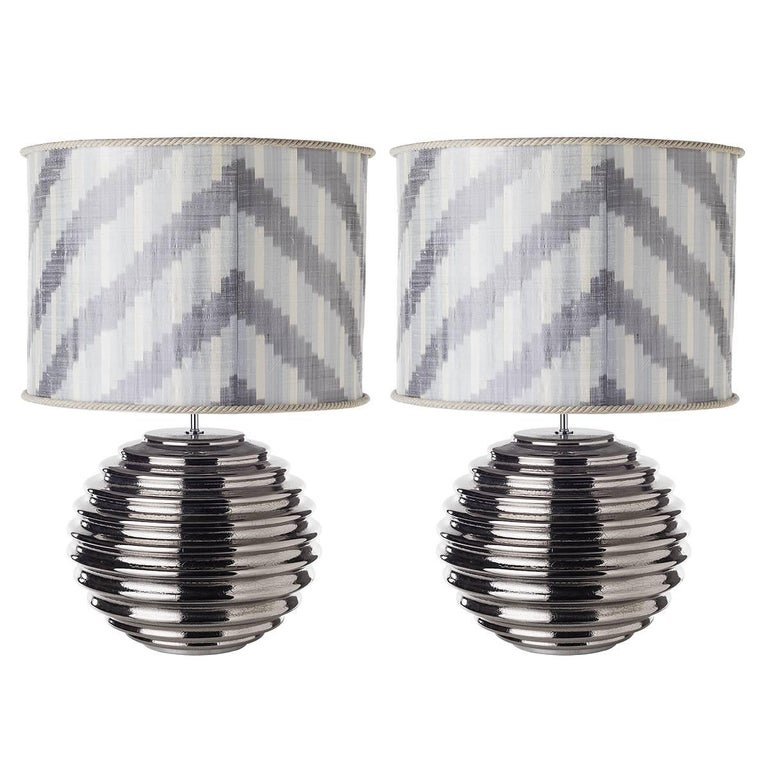 Pair of Spherical Ribbed Ceramic Table Lamps