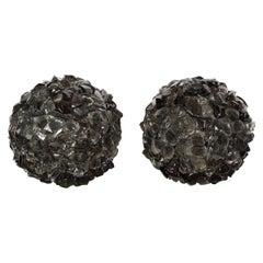 Pair of Spherical Rocky Black Murano Glass Lamps