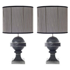 Pair of Spherical Transitional Ceramic Table Lamps