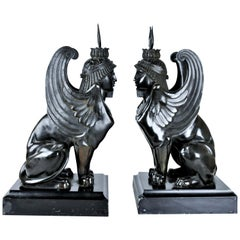 Pair of Sphinx, French Empire, Patinated Bronze Sculptures, 1820s