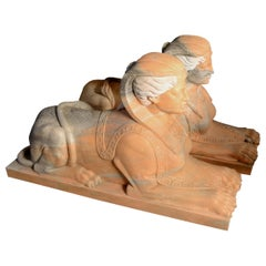 Pair of Sphinxes Carved in Veined Marble