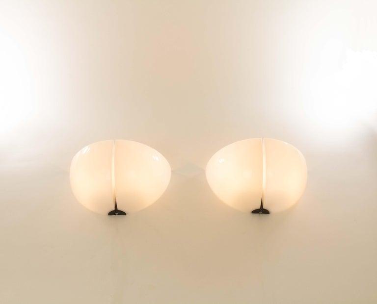 Late 20th Century Pair of Spicchio Wall Lamps by Corrado and Danilo Aroldi for Stilnovo, 1970s For Sale