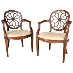 Pair of Spider Back Hepplewhite Chairs, 20th Century