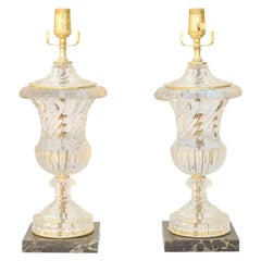 Pair of Spiral Urn Baccarat Glass Lamps