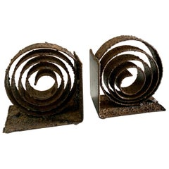 Pair of Spiral Wrought Iron Brutalist Bookends