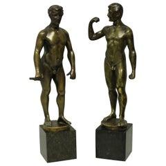 Pair of Spiro Schwatenberg Male Nude Bronzes