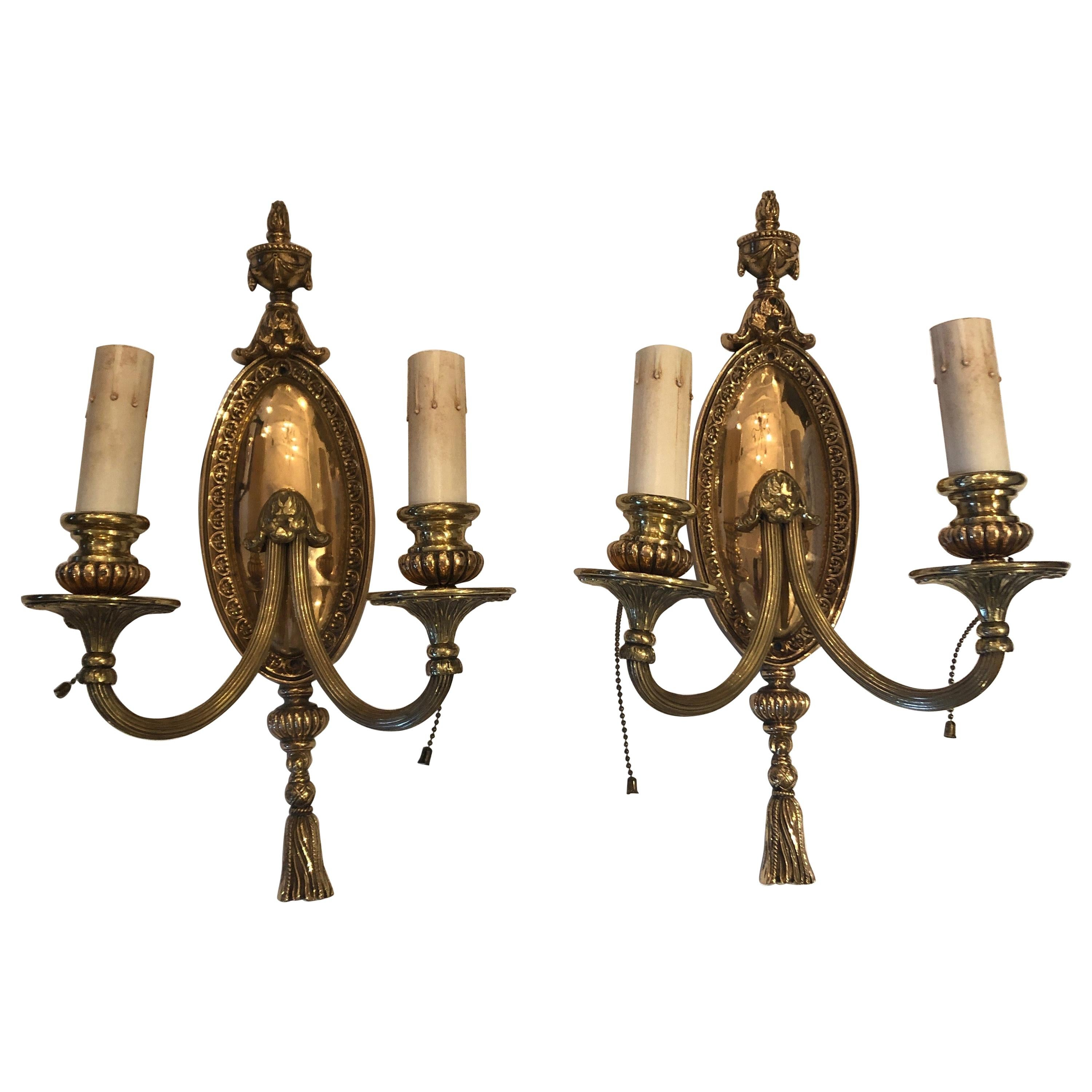 Pair of Splendid Bronze French Empire Wall Sconces