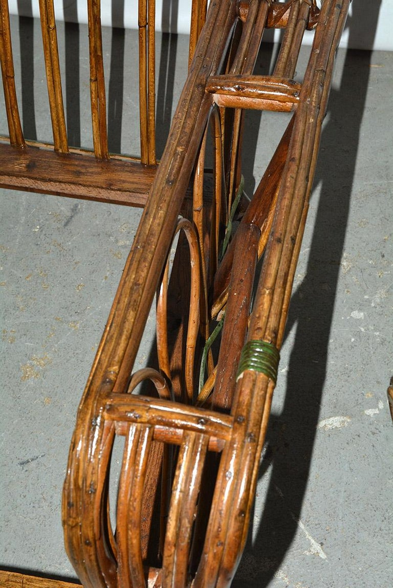 Pair of Split Reed Arm Chairs and Matching  For Sale 3