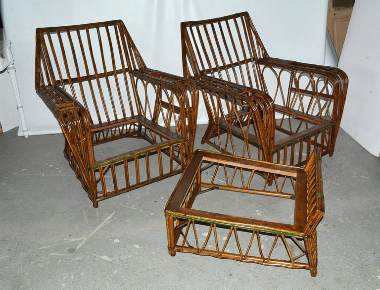 American Pair of Split Reed Arm Chairs and Matching  For Sale