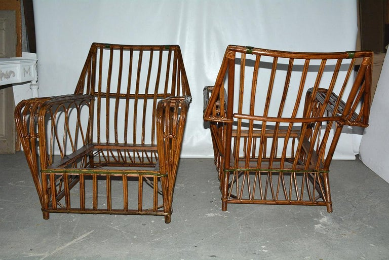 Hand-Crafted Pair of Split Reed Arm Chairs and Matching  For Sale