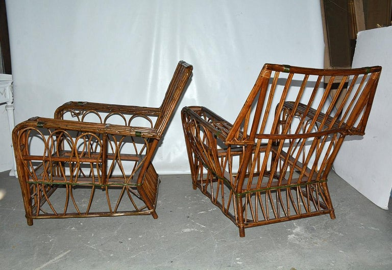 Pair of Split Reed Arm Chairs and Matching  In Good Condition For Sale In Great Barrington, MA