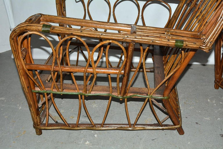 20th Century Pair of Split Reed Arm Chairs and Matching  For Sale