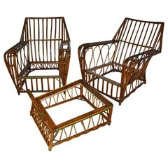 Pair of Split Reed Arm Chairs and Matching