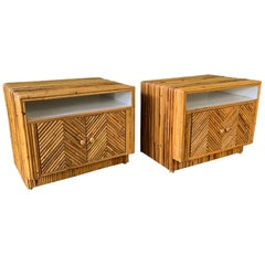 Pair of Split Reed Rattan Nightstands