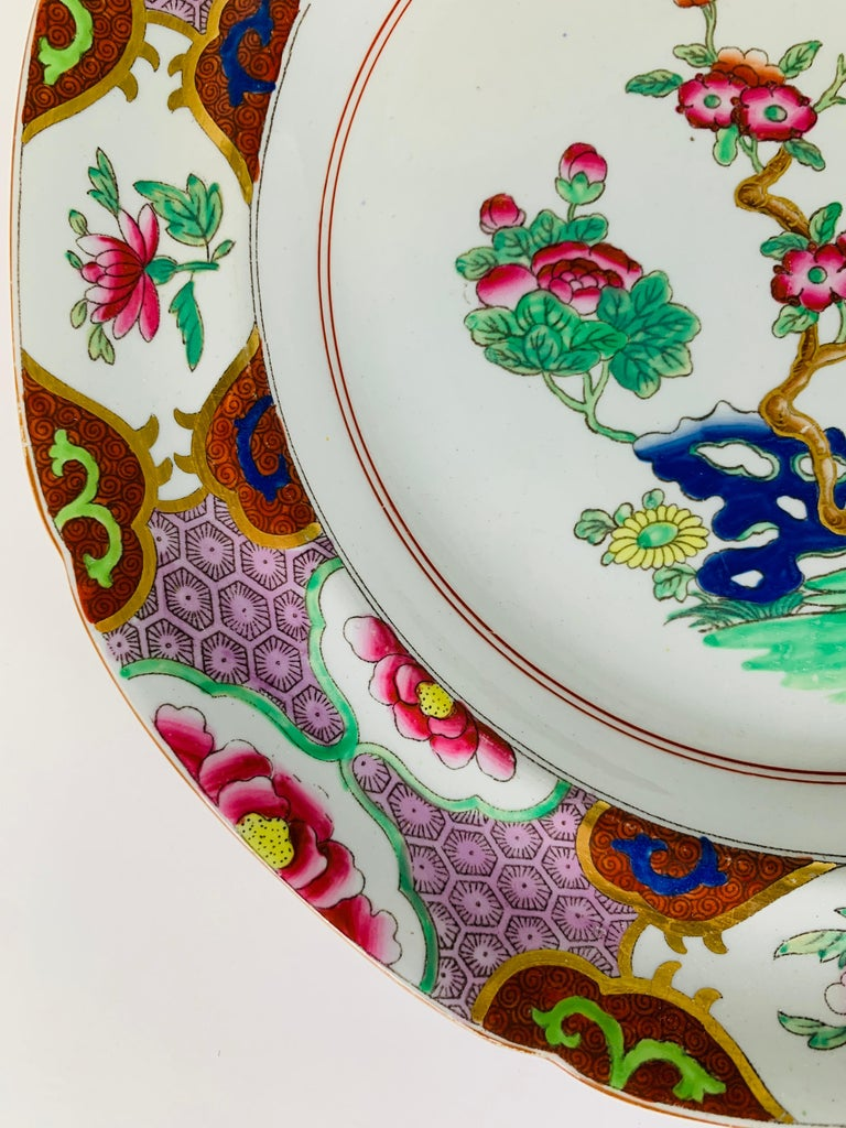 Chinoiserie Pair of Spode Ironstone Plates Lavender & Pink Borders Made England, circa 1820 For Sale