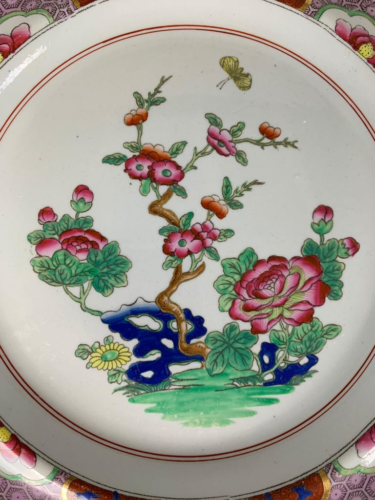 19th Century Pair of Spode Ironstone Plates Lavender & Pink Borders Made England, circa 1820 For Sale