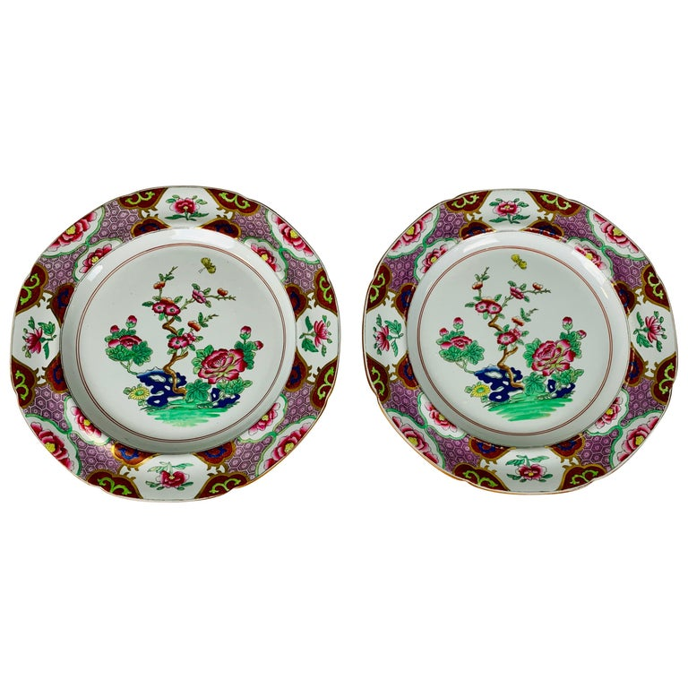 Pair of Spode Ironstone Plates Lavender & Pink Borders Made England, circa 1820 For Sale