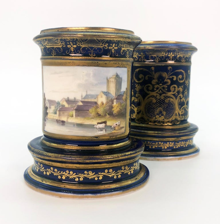 English Pair of Spode Porcelain Spill Vases, circa 1820 For Sale
