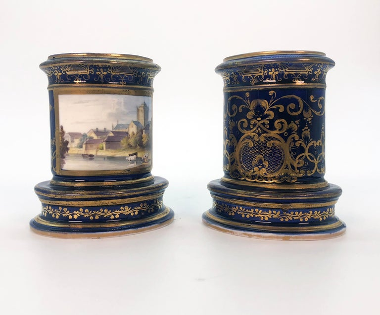 Hand-Painted Pair of Spode Porcelain Spill Vases, circa 1820 For Sale