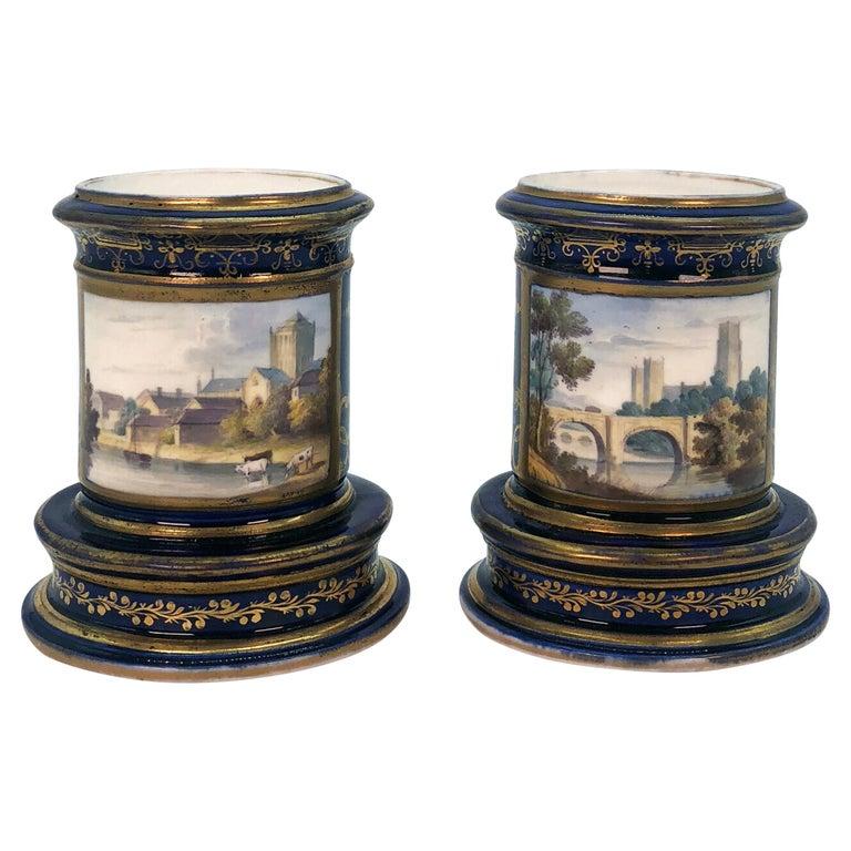 Pair of Spode Porcelain Spill Vases, circa 1820 For Sale