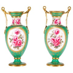 Pair of Spode Porcelain Vases w/ Hand Painted Rose Specimens Artist Signed