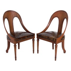 Pair of Spoonback Chairs with Oil Spot Leather Seats