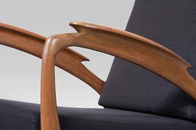 Mid-20th Century Pair of Sprij Vlaardingen Stunning Organic Cherrywood Armchairs For Sale