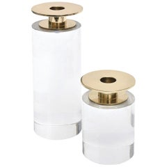 Pair of Springer Style Lucite and Brass Round Candlesticks