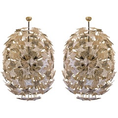 Pair of Sputnik Chandeliers w/ Louis Vuitton Murano Colored Glasses by Barovier
