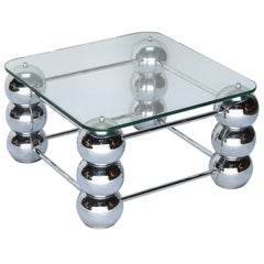 Pair of Square 1970s Chrome Side Tables with Glass Top