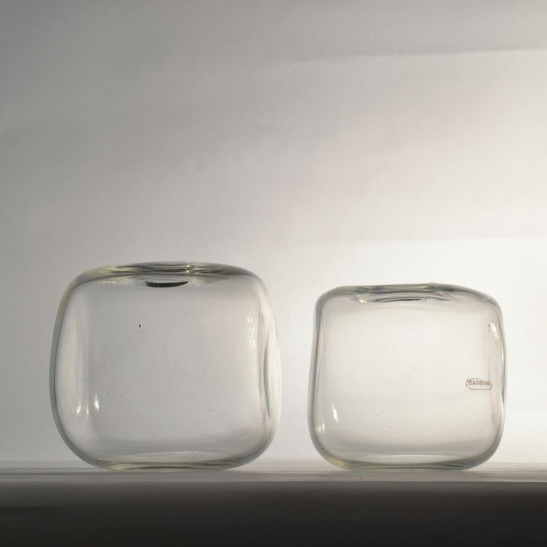 Cubic clear glass vases