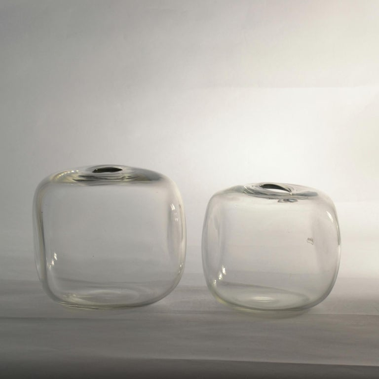 Hand-Crafted Pair of Square Barbini Vases