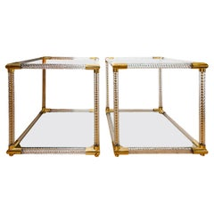 Pair of Square Base, Fluted Murano Glass Two Tier Side Tables