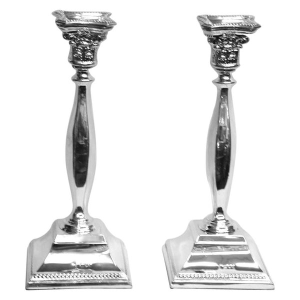 Pair of Square Base Silver Candlesticks Dated 1965, London, Made by David Shure