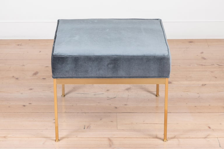 Mid-Century Modern Pair of Square Brass Ottomans by Lawson-Fenning For Sale