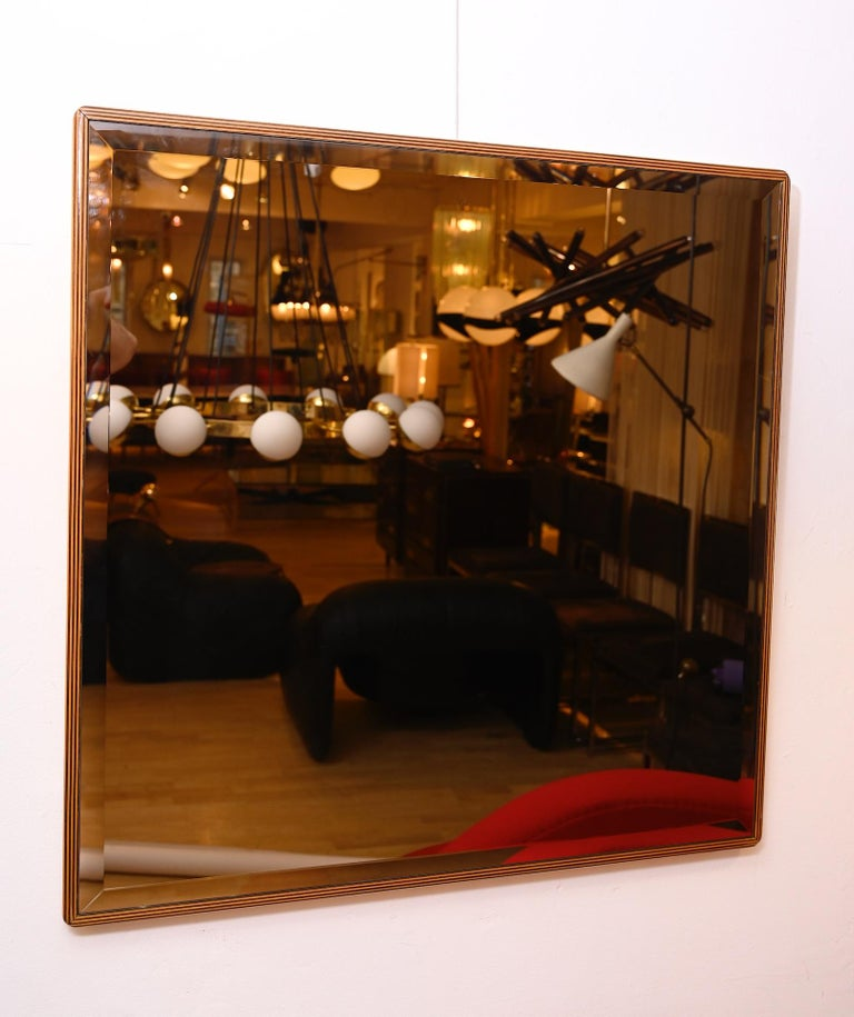 Mid-Century Modern Pair of Square Bronzed Beveled Mirrors For Sale
