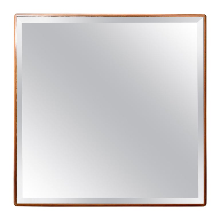 Pair of Square Bronzed Beveled Mirrors For Sale