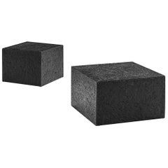 Pair of Square Brutalist Coffee Tables with Stone Look