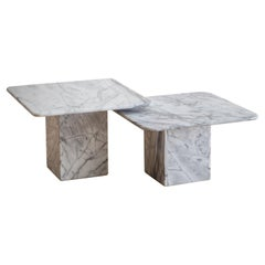 Pair of Square Carrara Marble Coffee Tables or Side Tables