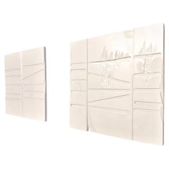 Pair of Squared Carved White Lacquered Wood Decorative Panels, Italy, 1990s