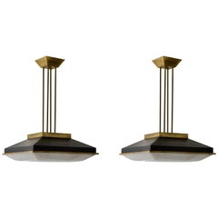 Pair of Square Ceiling Pendants with Brass Details, Attributed to Stilnovo Italy