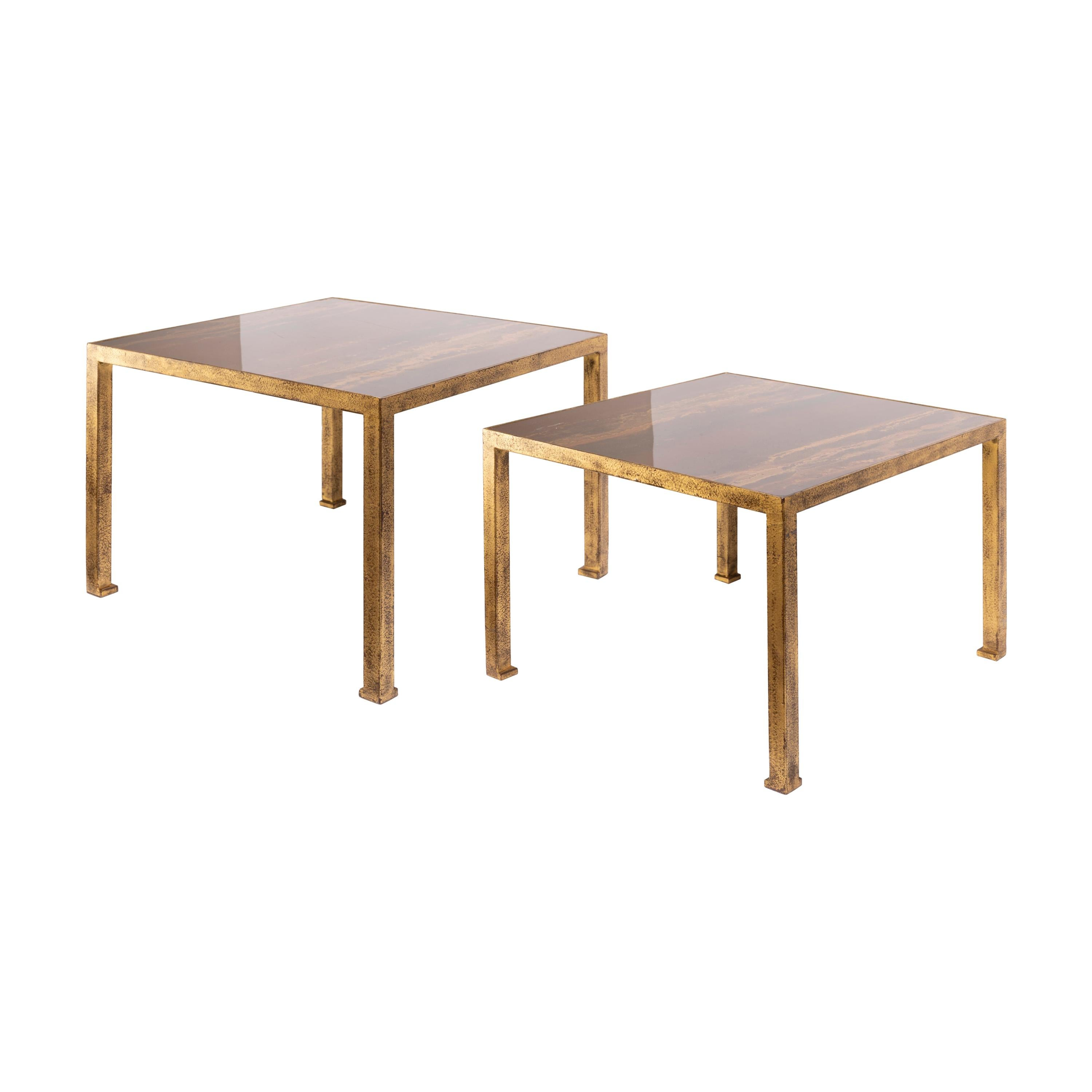 Pair of Square End Tables, by Maison Jansen