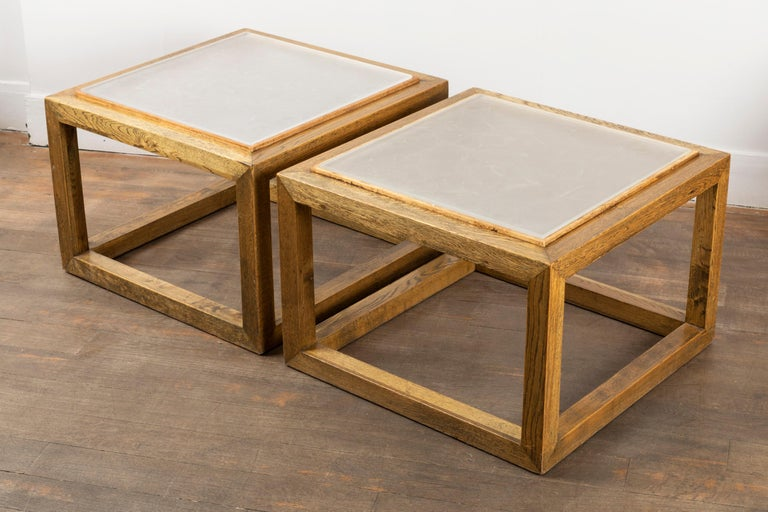 Mid-Century Modern Pair of Square End Tables, France, 1970s For Sale